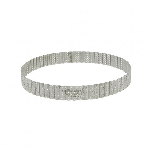 Round fluted tart ring, perforated stainless steel