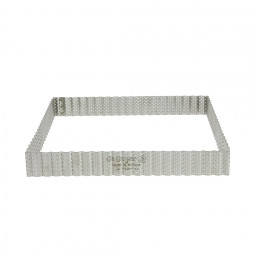 Square fluted tart ring, perforated stainless steel