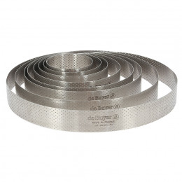 Round tart ring Ht 3,5 cm VALRHONA, perforated stainless steel