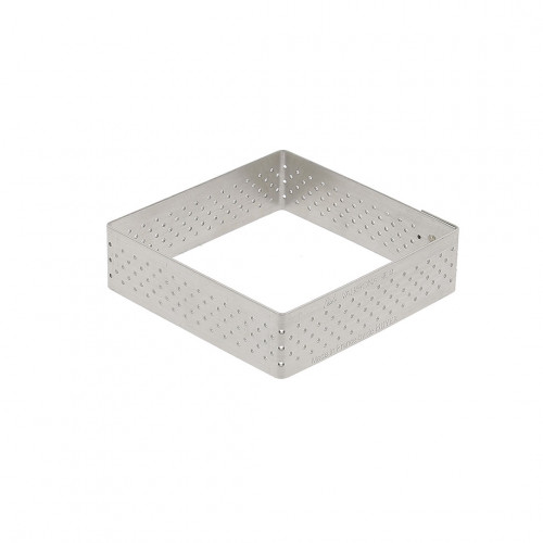 Square tart ring Ht 2 cm VALRHONA, perforated stainless steel