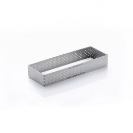 Cercle à tarte rectangle VALRHONA, inox perforé Ht 2 cm