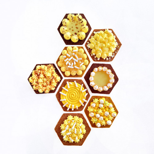 Hexagonal tart ring Ht 2 cm VALRHONA, perforated stainless steel