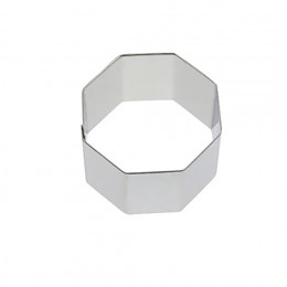 Ring, stainless steel, hexagonal Ht 4 cm