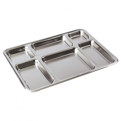 Plat self-service inox 6 compartiments