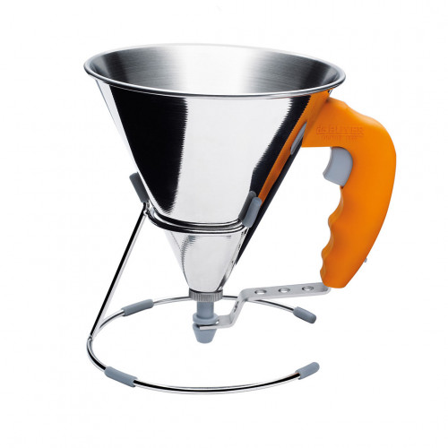 Piston funnel with stand 0,8 L. KWIK, stainless steel