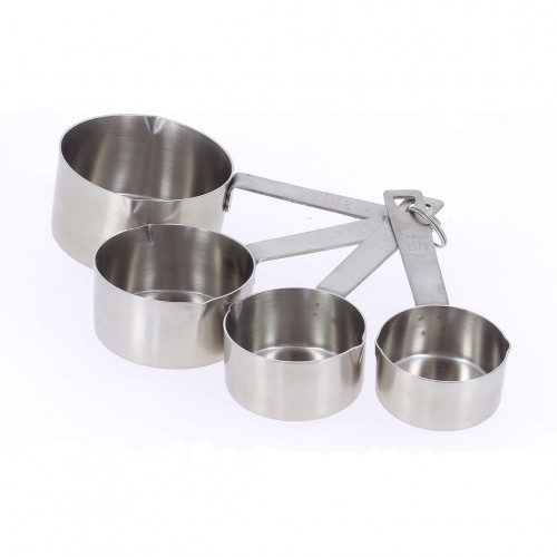 4 measuring scoops/cups, stainless steel