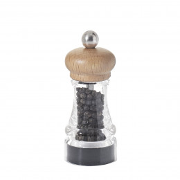 Pepper mill wood and transparent acrylic 11 cm HIP HOP