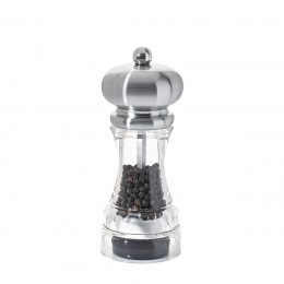 Pepper mill transparent acrylic and stainless steel look 14 cm POLKA