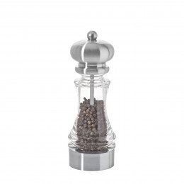 Universal mill for salt, pepper and spices transparent acrylic and stainless steel look 18 cm SAMBA