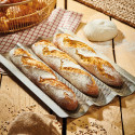 Baking tray for 3 baguettes, perforated stainless steel
